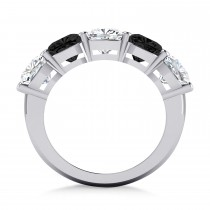 Cushion Black & White Diamond Five Stone Ring 14k White Gold (5.00ct)