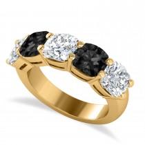 Cushion Black & White Diamond Five Stone Ring 14k Yellow Gold (5.00ct)