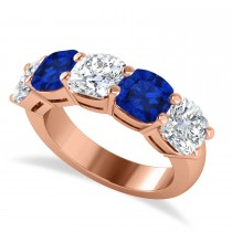 Cushion Diamond & Blue Sapphire Five Stone Ring 14k Rose Gold (5.20ct)
