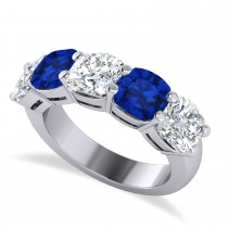 Cushion Diamond & Blue Sapphire Five Stone Ring 14k White Gold (5.20ct)