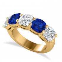 Cushion Diamond & Blue Sapphire Five Stone Ring 14k Yellow Gold (5.20ct)