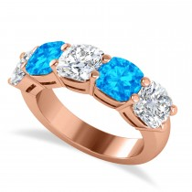 Cushion Diamond & Blue Topaz Five Stone Ring 14k Rose Gold (5.20ct)