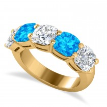 Cushion Diamond & Blue Topaz Five Stone Ring 14k Yellow Gold (5.20ct)