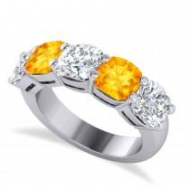 Cushion Diamond & Citrine Five Stone Ring 14k White Gold (5.20ct)