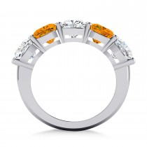Cushion Diamond & Citrine Five Stone Ring 14k White Gold (5.20ct)