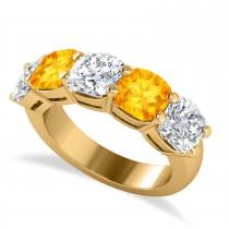Cushion Diamond & Citrine Five Stone Ring 14k Yellow Gold (5.20ct)