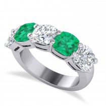 Cushion Diamond & Emerald Five Stone Ring 14k White Gold (5.20ct)