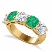 Cushion Diamond & Emerald Five Stone Ring 14k Yellow Gold (5.20ct)