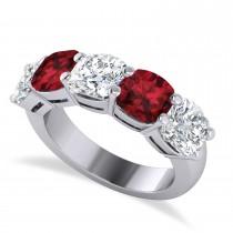Cushion Diamond & Garnet Five Stone Ring 14k White Gold (5.20ct)