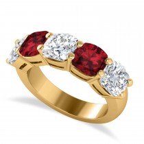 Cushion Diamond & Garnet Five Stone Ring 14k Yellow Gold (5.20ct)