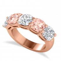 Cushion Diamond & Morganite Five Stone Ring 14k Rose Gold (5.20ct)