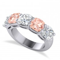 Cushion Diamond & Morganite Five Stone Ring 14k White Gold (5.20ct)