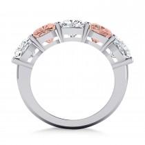 Cushion Diamond & Morganite Five Stone Ring 14k White Gold (5.20ct)|escape