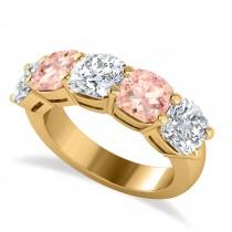 Cushion Diamond & Morganite Five Stone Ring 14k Yellow Gold (5.20ct)