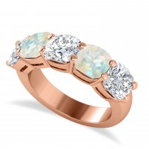 Cushion Diamond & Opal Five Stone Ring 14k Rose Gold (5.20ct)