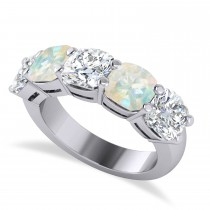 Cushion Diamond & Opal Five Stone Ring 14k White Gold (5.20ct)