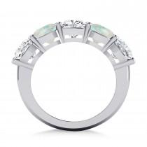 Cushion Diamond & Opal Five Stone Ring 14k White Gold (5.20ct)