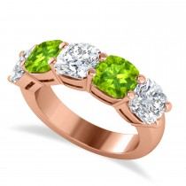 Cushion Diamond & Peridot Five Stone Ring 14k Rose Gold (5.20ct)