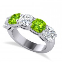 Cushion Diamond & Peridot Five Stone Ring 14k White Gold (5.20ct)