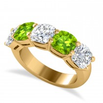 Cushion Diamond & Peridot Five Stone Ring 14k Yellow Gold (5.20ct)