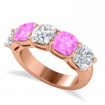 Cushion Diamond & Pink Sapphire Five Stone Ring 14k Rose Gold (5.20ct)