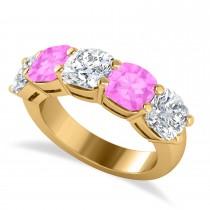Cushion Diamond & Pink Sapphire Five Stone Ring 14k Yellow Gold (5.20ct)
