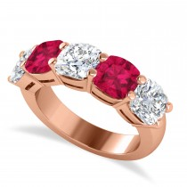 Cushion Diamond & Ruby Five Stone Ring 14k Rose Gold (5.20ct)