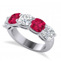 Cushion Diamond & Ruby Five Stone Ring 14k White Gold (5.20ct)
