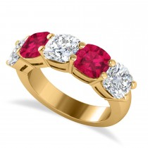 Cushion Diamond & Ruby Five Stone Ring 14k Yellow Gold (5.20ct)