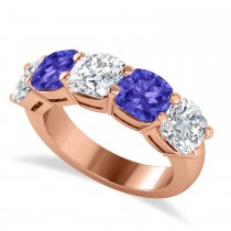Cushion Diamond & Tanzanite Five Stone Ring 14k Rose Gold (5.20ct)