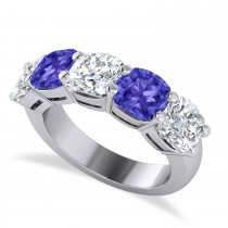 Cushion Diamond & Tanzanite Five Stone Ring 14k White Gold (5.20ct)