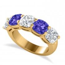 Cushion Diamond & Tanzanite Five Stone Ring 14k Yellow Gold (5.20ct)