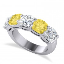 Cushion Yellow & White Diamond Five Stone Ring 14k White Gold (5.00ct)