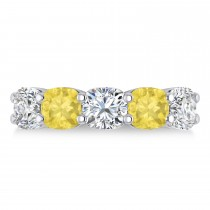 Cushion Yellow & White Diamond Five Stone Ring 14k White Gold (5.00ct)
