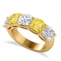 Cushion Yellow & White Diamond Five Stone Ring 14k Yellow Gold (5.00ct)