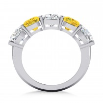 Cushion Diamond & Yellow Sapphire Five Stone Ring 14k White Gold (5.20ct)