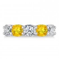 Cushion Diamond & Yellow Sapphire Five Stone Ring 14k White Gold (5.20ct)