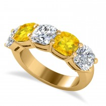Cushion Diamond & Yellow Sapphire Five Stone Ring 14k Yellow Gold (5.20ct)