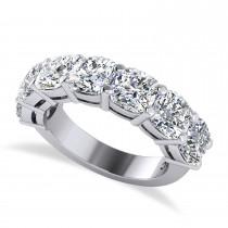 Cushion Diamond Seven Stone Wedding Band 14k White Gold (5.25ct)