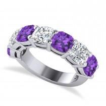 Cushion Diamond & Amethyst Seven Stone Ring 14k White Gold (5.85ct)