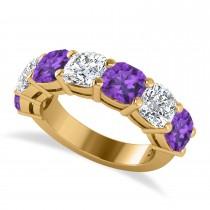 Cushion Diamond & Amethyst Seven Stone Ring 14k Yellow Gold (5.85ct)