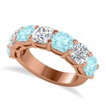Cushion Diamond & Aquamarine Seven Stone Ring 14k Rose Gold (5.85ct)