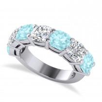 Cushion Diamond & Aquamarine Seven Stone Ring 14k White Gold (5.85ct)