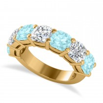 Cushion Diamond & Aquamarine Seven Stone Ring 14k Yellow Gold (5.85ct)