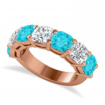 Cushion Blue & White Diamond Seven Stone Ring 14k Rose Gold (5.25ct)