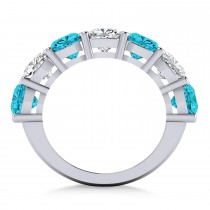 Cushion Blue & White Diamond Seven Stone Ring 14k White Gold (5.25ct)