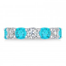 Cushion Blue & White Diamond Seven Stone Ring 14k White Gold (5.25ct)