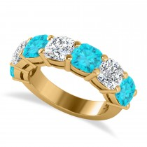Cushion Blue & White Diamond Seven Stone Ring 14k Yellow Gold (5.25ct)