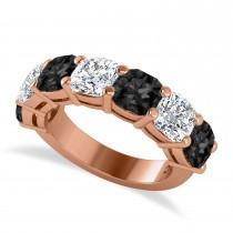 Cushion Black & White Diamond Seven Stone Ring 14k Rose Gold (5.25ct)