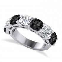Cushion Black & White Diamond Seven Stone Ring 14k White Gold (5.25ct)